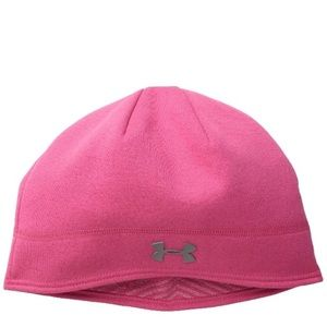 New Woman's UA Under Armour Pink Grey Beanie Hat